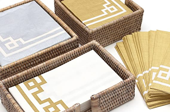 Amazon.com: Caspari Rattan Cocktail Napkin Holder in Dark Natural, 1 Each: Guest Hand Towels Paper: Kitchen & Dining