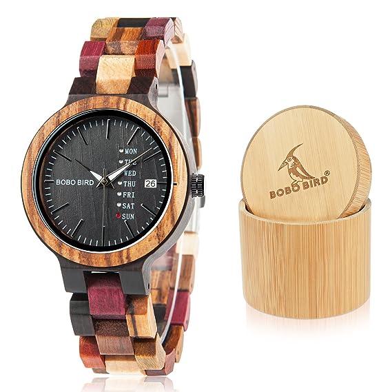 Bobo Bird - Reloj de Pulsera para Hombre y Mujer, de Madera, analógico,