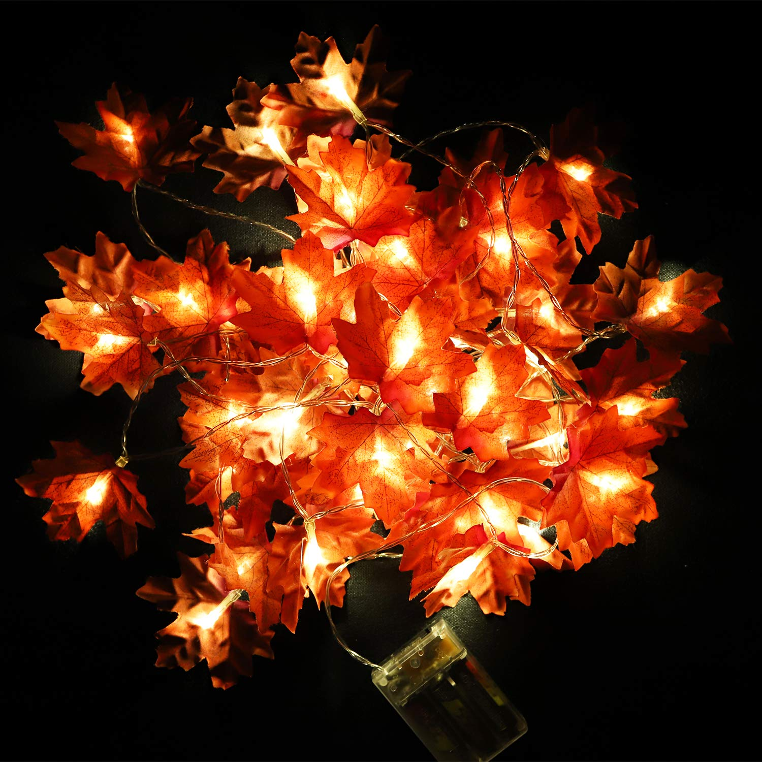 R.HORSE 40 LEDs Maple Leaves Garland String Lights 20 Feet for Home Decorations, Maple Leaf String Lights Fall Decoration Seasonal Lights for Party Halloween Thanksgiving Christmas (Warm White)