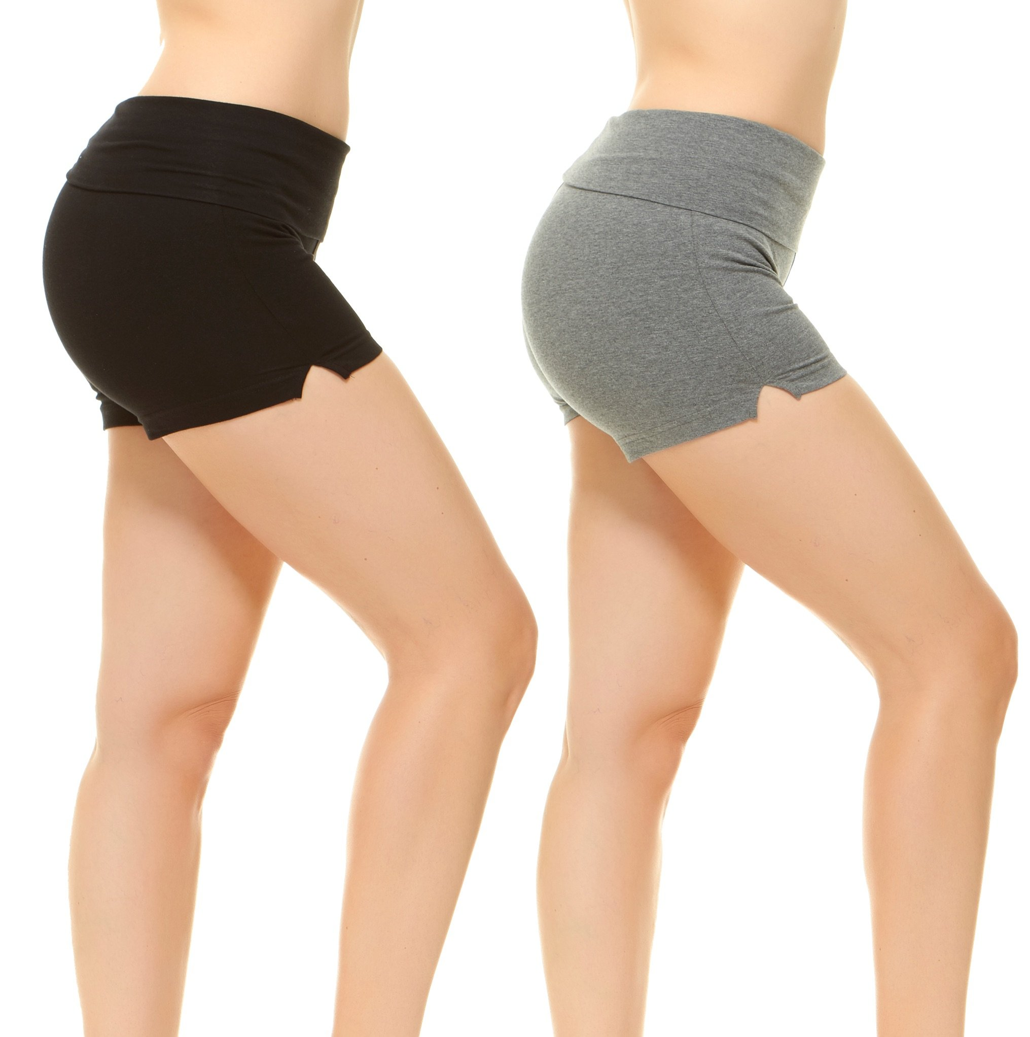 Fold-Over Waistband Stretchy Cotton-Blend Yoga Shorts Black and Grey M