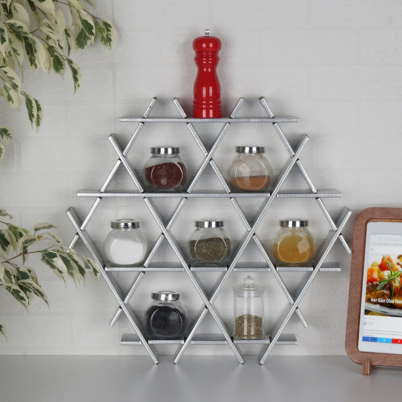 LaModaHome Cardboard Shelf 100% Corrugated Cardboard (20.5'' x 18.9'' x 2.8'') Silver Triangle Hexagon Decorative Kitchen Design Storage Shelf Multi Purpose