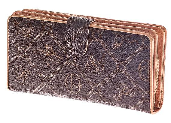 Giulia Pieralli #176 - Cartera para mujer XXL de piel sintética con cremallera marrón M: Amazon.es: Zapatos y complementos
