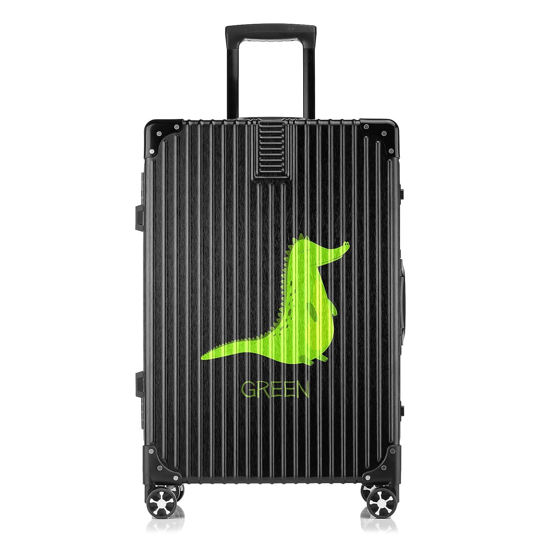 GSHCJ スーツケース かわいい動物 ワニ キャリーケース 20インチ おしゃれ ブラック Tsaロック搭載 プリント ハード 超軽量 軽い 機内持込 ロックファスナー 旅行 ビジネス 出張 海外 修学旅行 丈夫 便利 レディース メンズ 学生 B07S1BPKZM