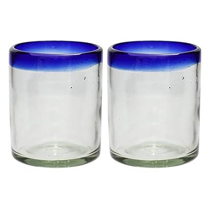 Vaso Tumbler Artesanal – Vidrio Reciclado – Borde azul - Juego de 2