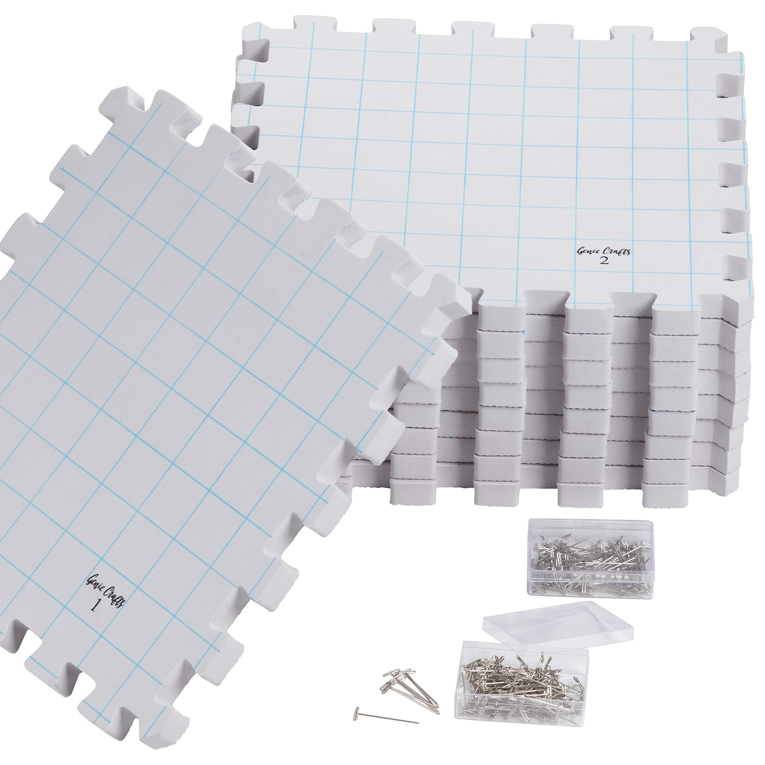 Juvale 9-Pack Thick Blocking Board Mats with 200 T-Pins and Storage Bag for Knitting and Crochet, 12.5 Inches by Juvale (Image #4)