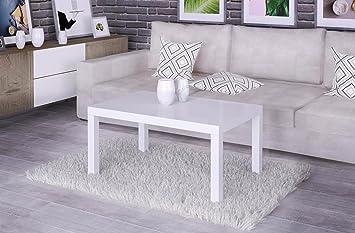 Endo Couchtisch Eve 130 Wohnzimmertisch Tisch 100x60cm Ausziehbar  Erweiterbar Auszug // Weiß Hochglanz
