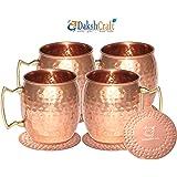 DakshCraft ® a mano puro rame martellato Moscow Mule Mug, Set di 4 con 4 metallo martellate Coasters