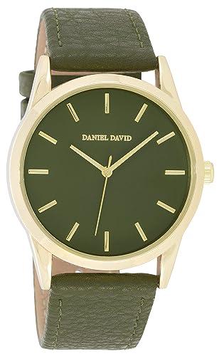 Daniel David - Reloj de Pulsera para Mujer, Moderno, Dorado y Verde Militar, Piel sintética, DD17401: Amazon.es: Relojes