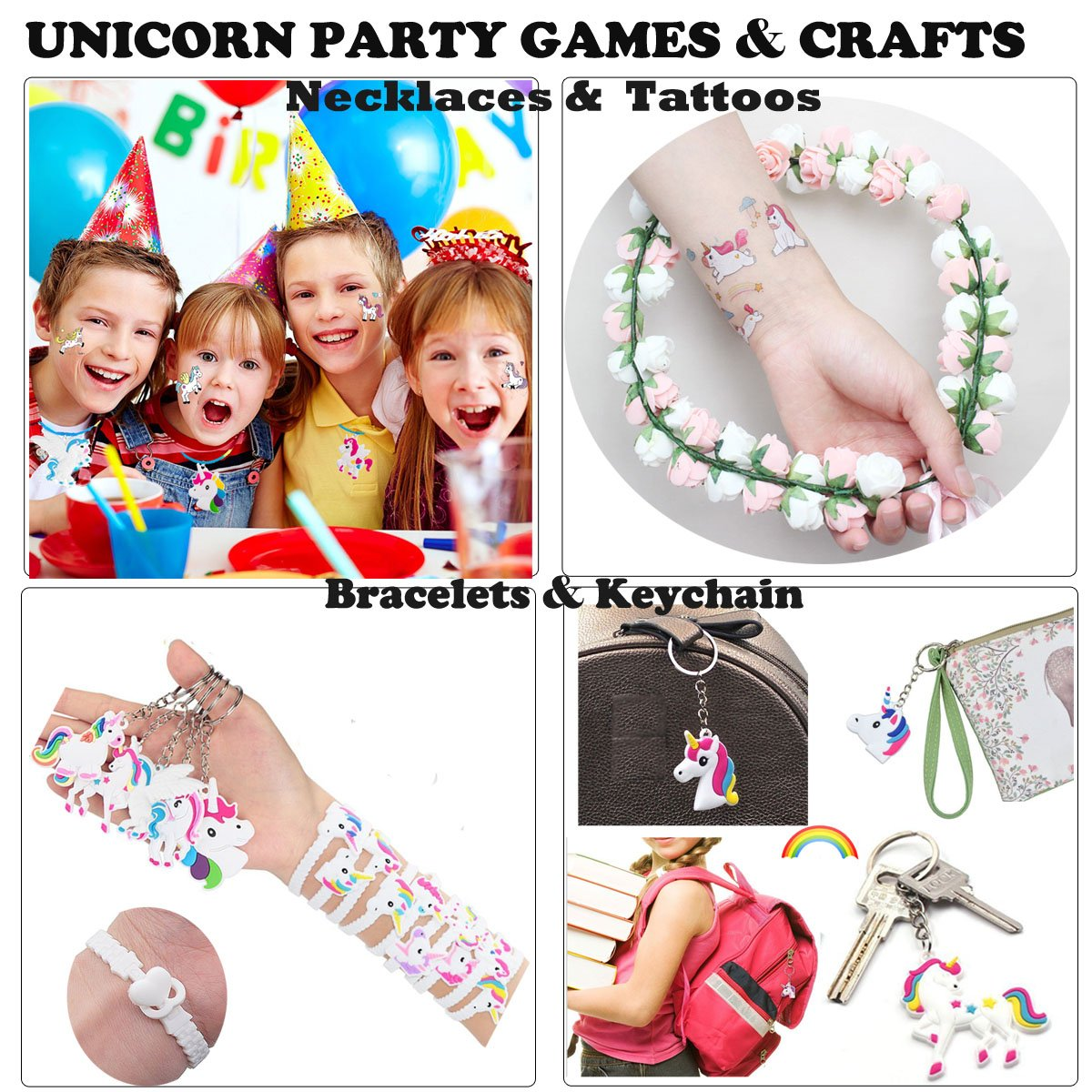 32 Pack CZL Novel Carnival Rainbow Prize Santa Gift Unicorn Theme Sets Includes Unicorn Necklaces Bracelets Keychains Kids Girl Birthday Decoration Toy Kit Bonus Tattoos Unicorn Party Favors Supplies