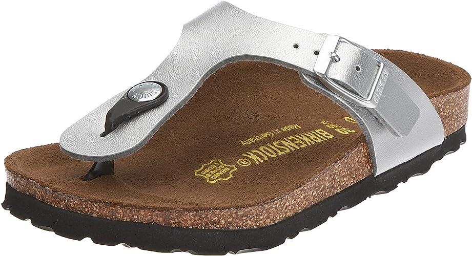Verde Cerebro pase a ver  Birkenstock Gizeh Birko-Flor, Style-No. 743513, Children Thong Sandals,  Silver, EU 32, slim width: Amazon.co.uk: Shoes & Bags