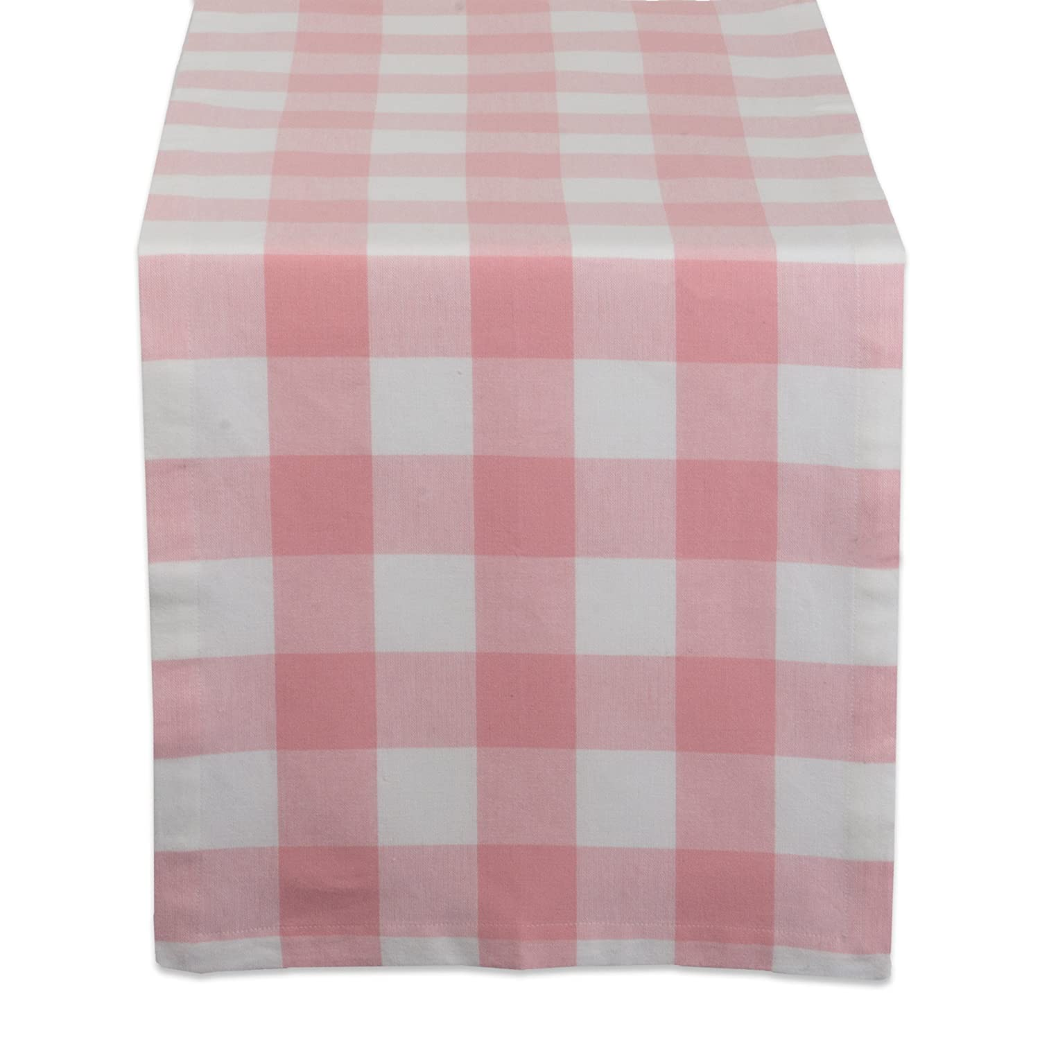 """DII Cotton Buffalo Check Table Runner for Family Dinners or Gatherings, Indoor or Outdoor Parties, & Everyday Use (14x72"""",Seats 4-6 People), Pink & White"""