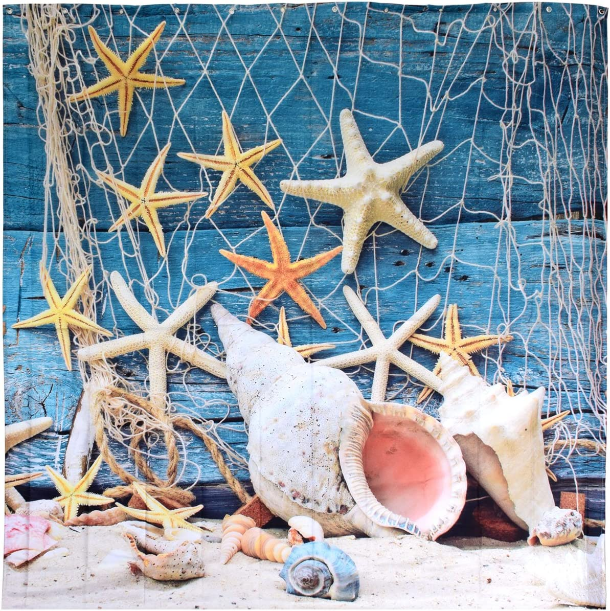 BROSHAN Beach Shower Curtains for Bathroom, Nautical Fishing Nets Seashells Conch Starfish on Wooden Board Ocean Bathroom Decor, Beach Waterproof Fabric Shower Curtain with Hooks