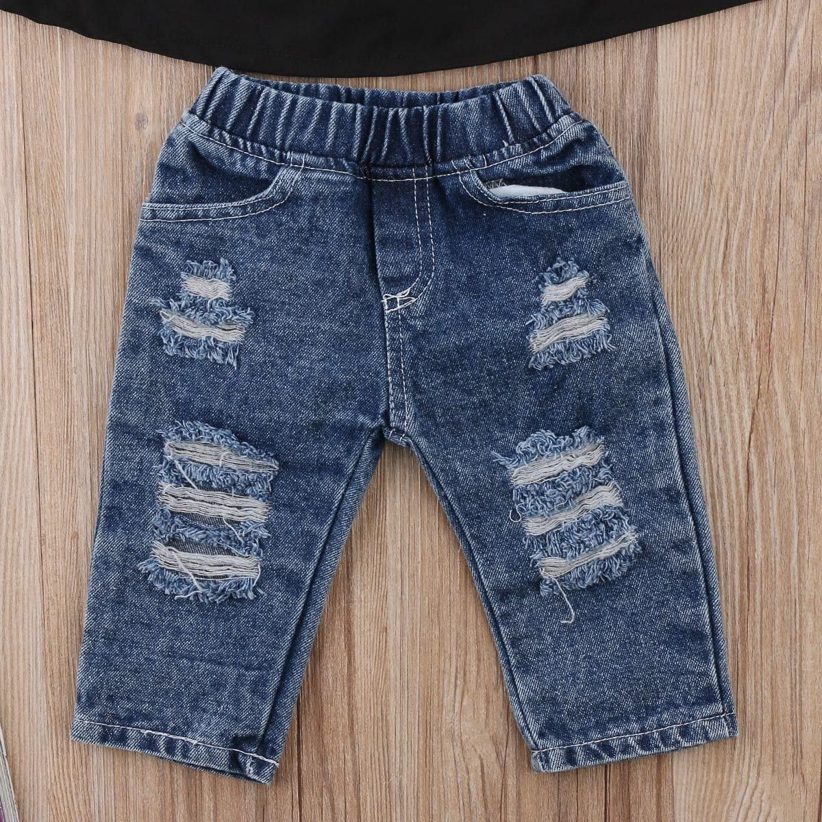 Emmababy Toddler Girls Clothes Kids Baby Off Shoulder Tops Fall Ruffle Sleeve Shirt+Ripped Jeans Long Pants Denim Outfit