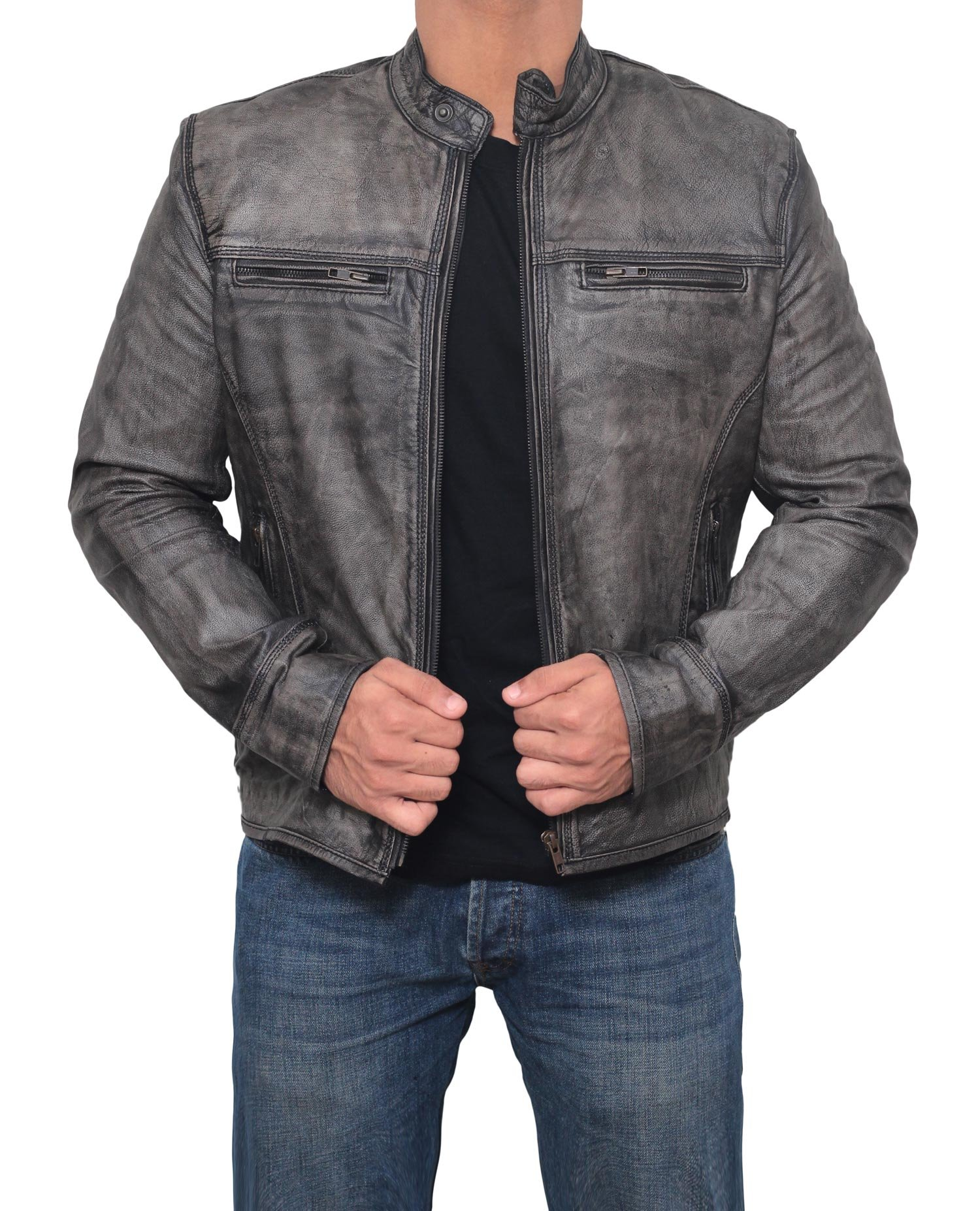 Decrum Mens Garcia Fitted Distressed Grey Authentic Lambskin Leather Motorcycle Jacket - XL by Decrum