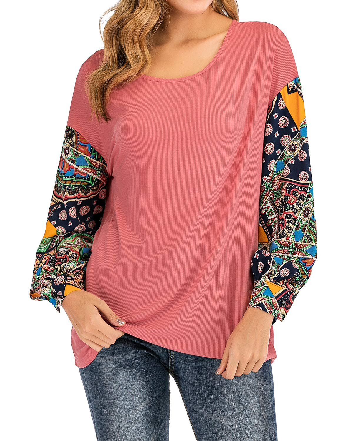 LeMarnia Knit Tops for Women, Ladies Puff Sleeve Crewneck Loose Fit Patchwork Shirts Floral Print Patchwork Casual Pullover Sweatshirts Pink XL