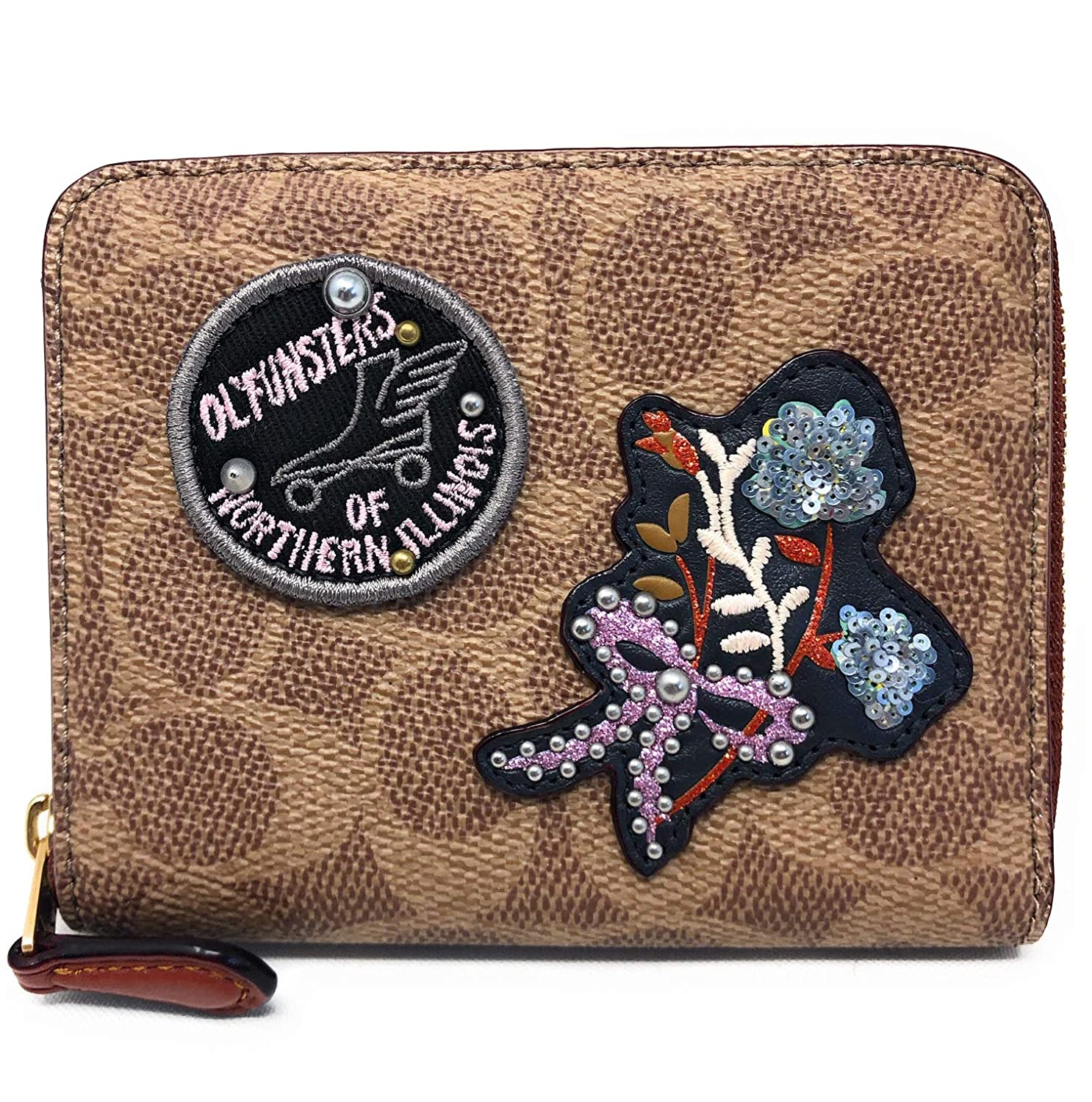 7ed2d94926f4 Coach Small Zip Around Wallet In Signature Canvas With Patches B4/RU at  Amazon Women's Clothing store: