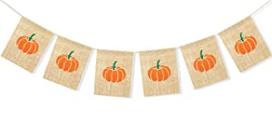 Uniwish Little Pumpkin Banner Baby Shower Halloween Thanksgiving Party Decorations, Vintage Rustic Burlap Bunting Happy Fall Y'All Décor Photo Props