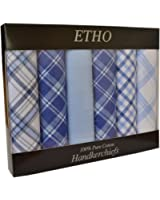 6 Pack Mens/Gentlemens Dyed & Check Printed Handkerchiefs, 100% Cotton, Various Colours