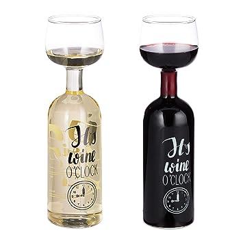 Relaxdays Weinflasche Glas Xl Weinglas Mit Spruch Fun Geschenk Fur