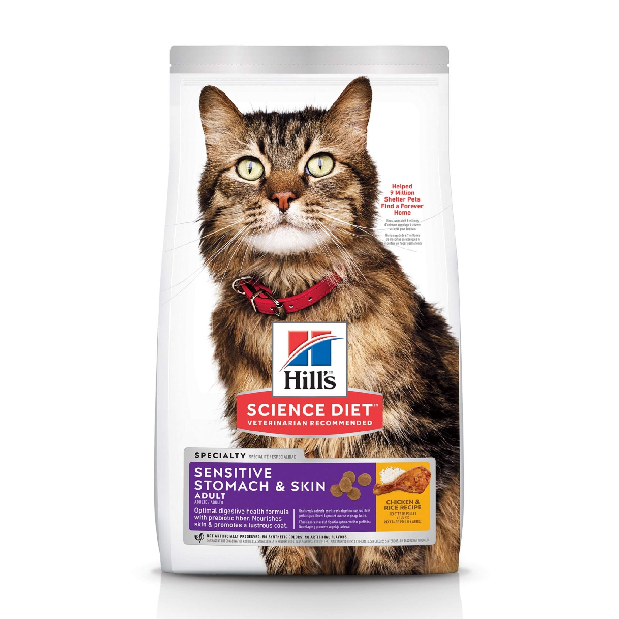 Hill's Science Diet Dry Cat Food, Adult, Sensitive Stomach & Skin, Chicken & Rice Recipe, 7 lb Bag by Hill's Science Diet (Image #1)
