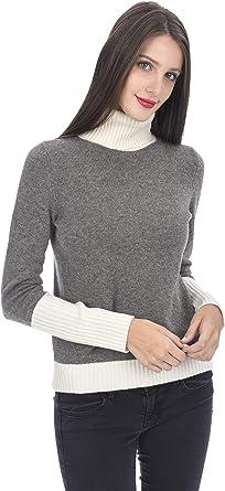 State Cashmere Color Block Mix Knit Turtleneck Sweater 100