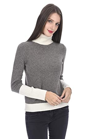 762a2d53dab State Cashmere Women s 100% Cashmere Contrast Color Turtleneck Sweater  Oatmeal