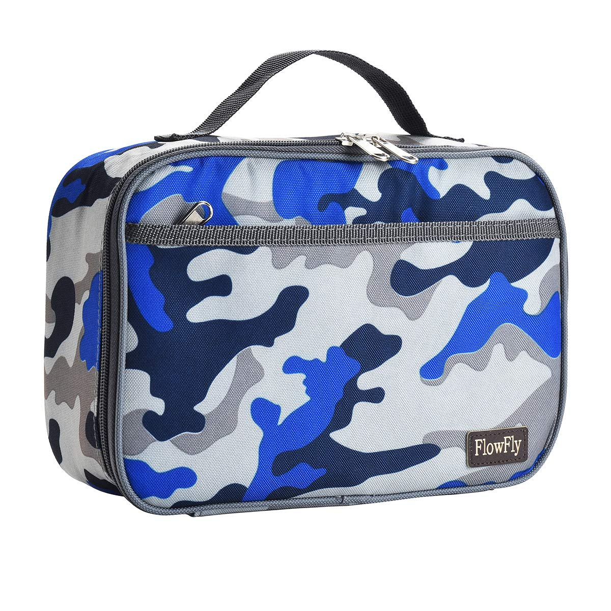 Kids Lunch box Insulated Soft Bag Mini Cooler Thermal Meal Tote Kit with Handle and Pocket for Girls, Boys by FlowFly,Blue Camo