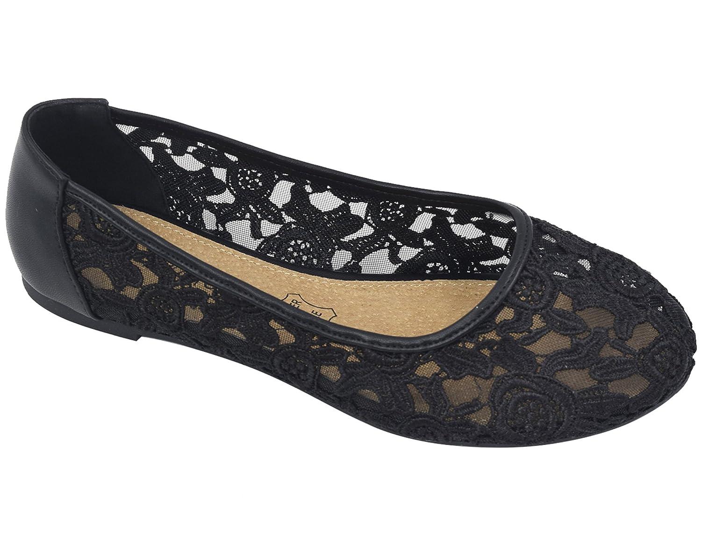 7afc047baed3 Greatonu Women Shoes Cut Out Slip On Lace Ballet Flats  Amazon.co.uk  Shoes    Bags