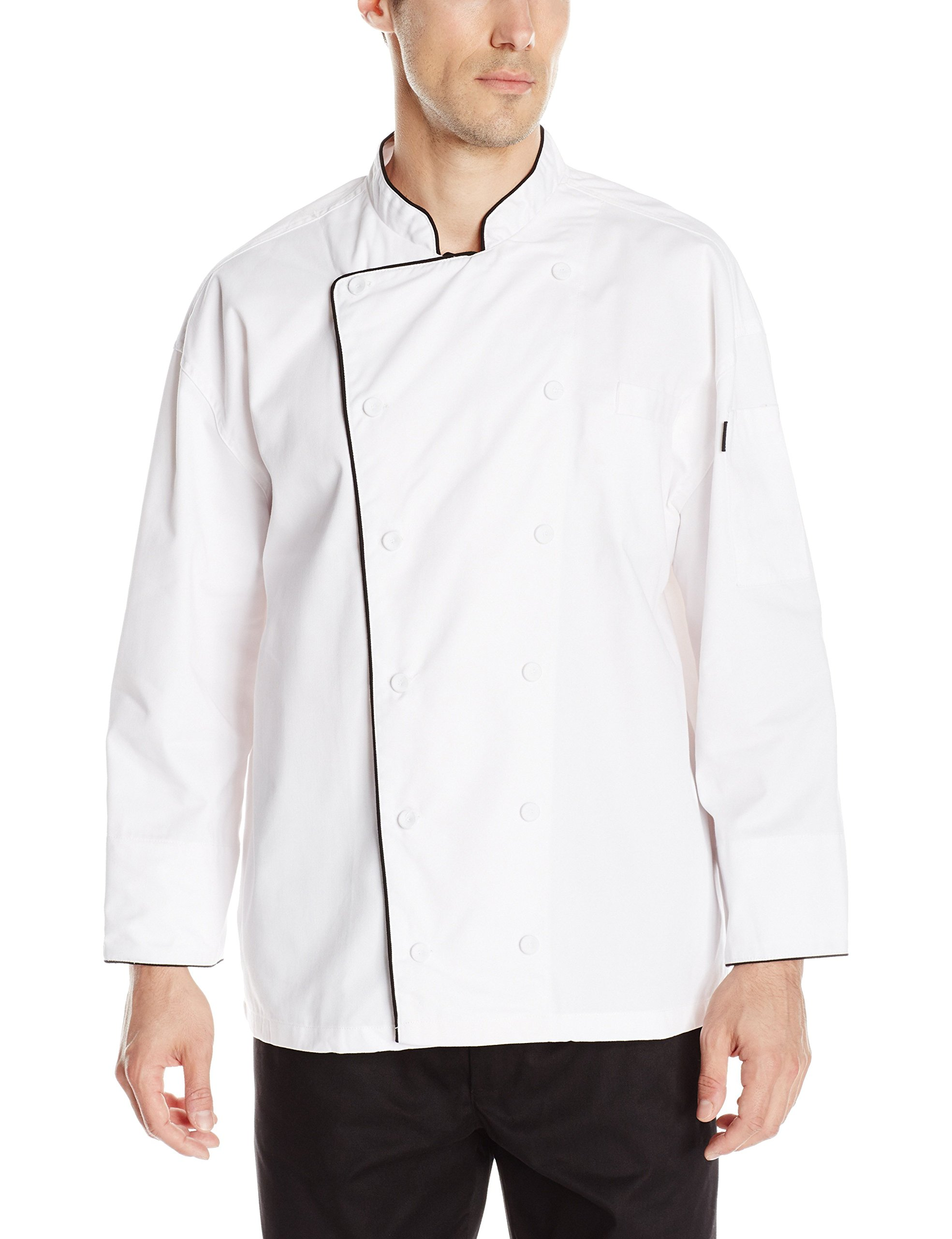 Chef Code Men's Black Trimmed Classic Executive Coat, White, Large