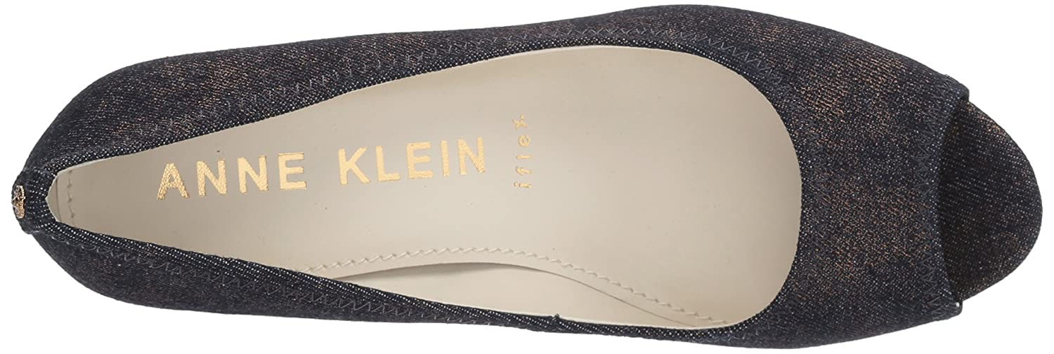 Anne Klein Women's Meredith Fabric Pump B0777QLYPQ 5 B(M) US|Blue/Gold Fabric