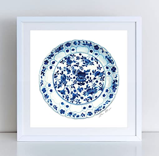 amazon com blue and white china plate 7 ginger jar print