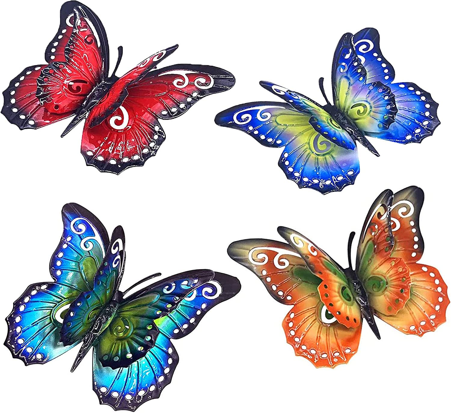 4Pcs Metal Butterfly Wall Decor, 3D Sturdy Metal Wall Art Fence Decor, Indoor Outdoor Butterfly Decorations for Front Porch, Bedside, TV Wall, Patio, Fence, Garden, Yard, Mushroom, Flowers and Gifts