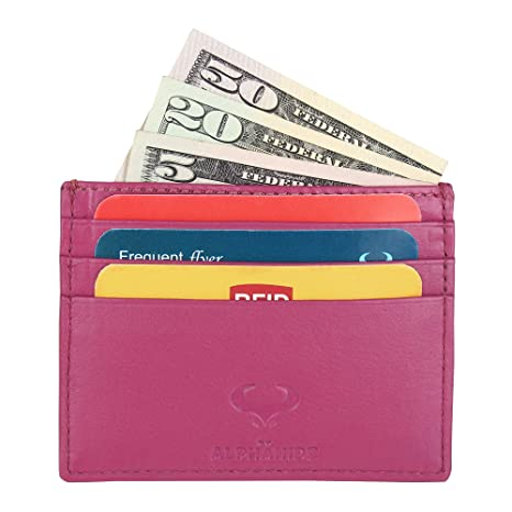 RFID Front Pocket Wallet Real Leather Credit Card Holder Ultra Thin Design Pink