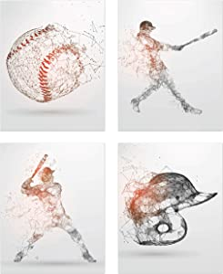 Baseball Geometric Wall Art Prints - Particle Silhouette - Set of 4 (8x10) Poster Photos - Bedroom - Man Cave Decor