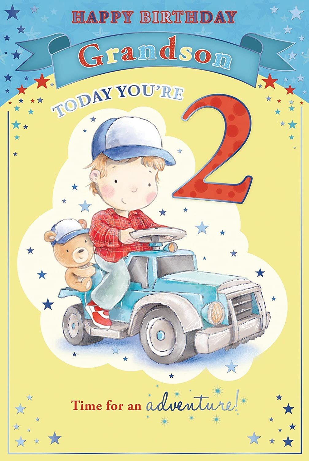 Grandsons 2nd Birthday Card 2 Today Little Boy Bear Driving – Happy 2nd Birthday Card