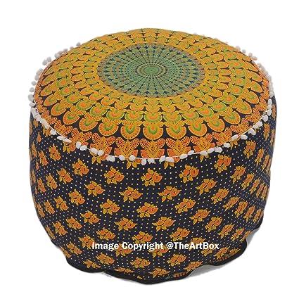 Astounding Amazon Com The Art Box Indian Peacock Mandala Ottoman Pouf Creativecarmelina Interior Chair Design Creativecarmelinacom