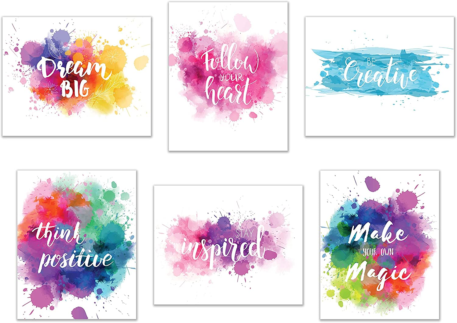 "Inspirational Wall Art-Inkblot: Set of 6-Phrases of Wisdom Unframed Poster Art (8""x10"")"