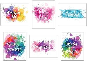 "Inspirational Wall Art-Inkblot: Set of 6-Phrases of Wisdom Unframed Poster Art (8""x10"")"