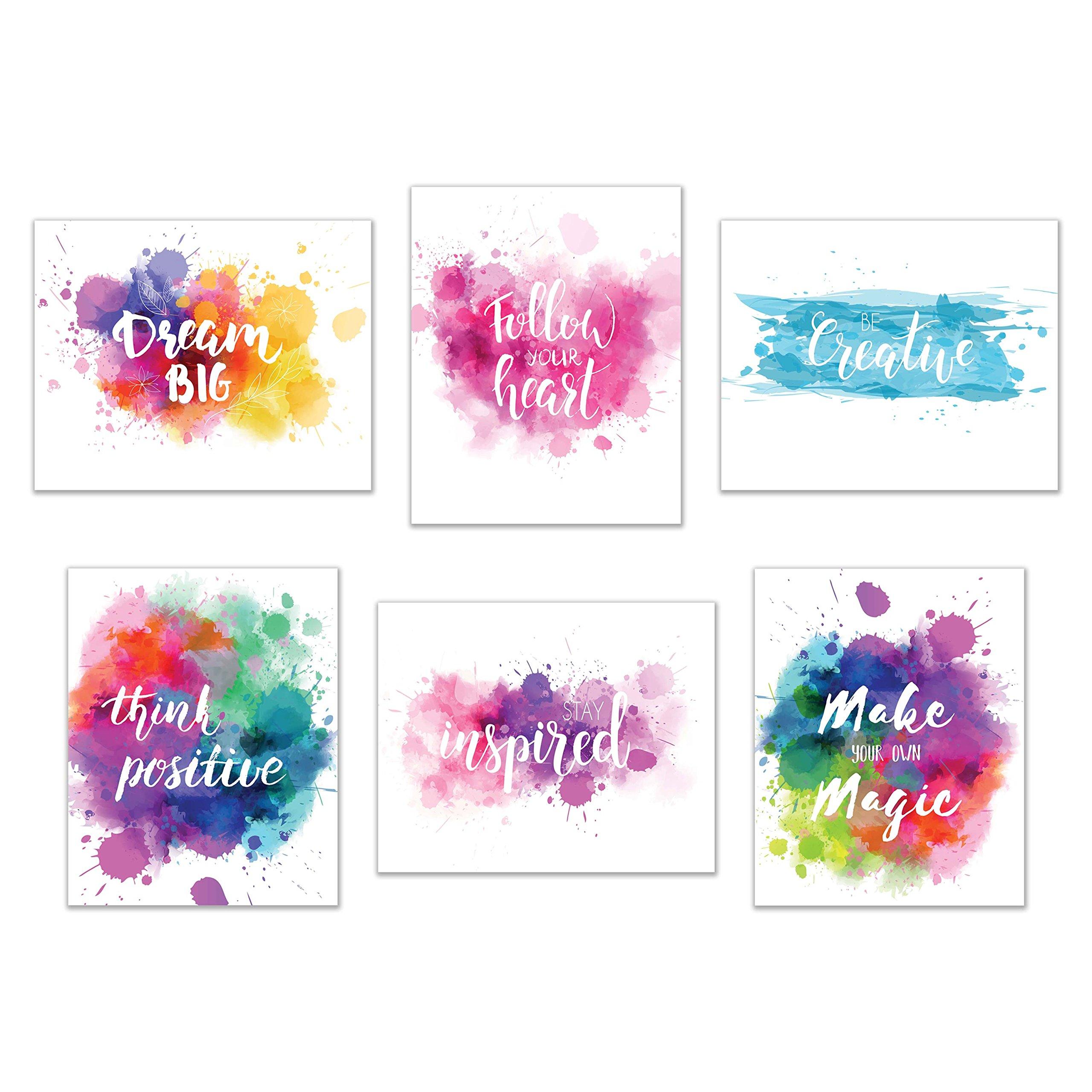 Inspirational Wall Art-Inkblot: Set of 6-Phrases of Wisdom Unframed Poster Art (8''x10'')