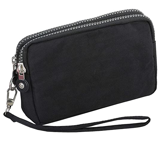 3 Zippers Clutch Wallet Waterproof Nylon Cell phone Purse Wristlet Bag Money Pouch for Women