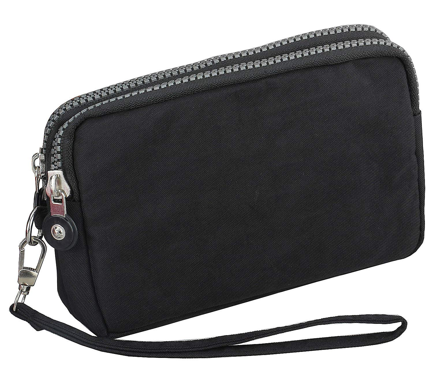3 Zippers Clutch Wallet Waterproof Nylon Cell phone Purse Wristlet Bag Money Pouch for Women (Black) by Coolstar (Image #3)