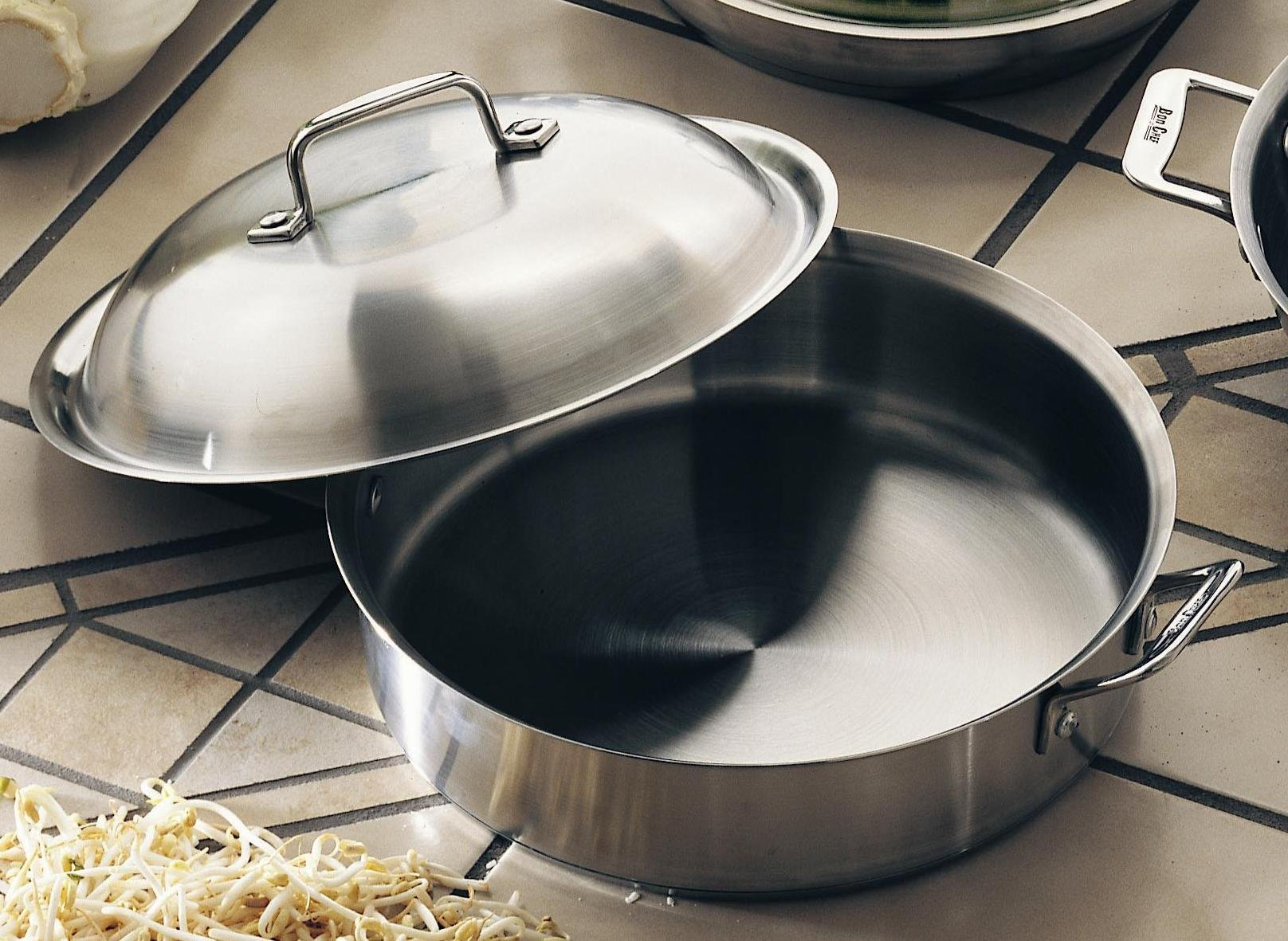 Bon Chef 60001 Stainless Steel Induction Bottom Cucina Saute Pan, 4 quart Capacity, 13-29/32'' Length x 11-19/64'' Width x 3'' Height by Bon Chef (Image #2)