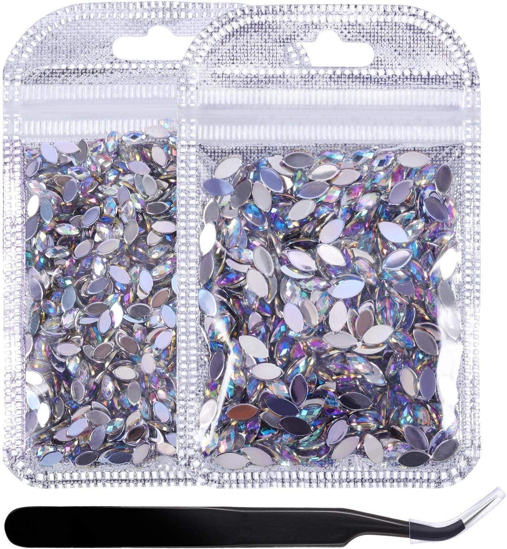 2000 Piezas de Diamantes de Imitaci/ón AB Brillantes Espalda Plana con Pinzas Gemas Planas de Ojo de Caballo Decoraciones para U/ñas Manualidades