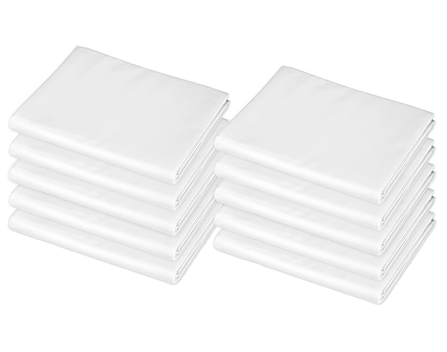 """American Baby Company 10-Piece Cotton-Polyester Blend Standard Day Care Nap Mat Sheet, White, 24"""" x 48"""" x 4"""""""