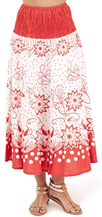 48606dcd570c3d Dannii Matthews Ladies 100% Cotton Dotty Floral Print 2 in 1 Bandeau Summer  Dress/Maxi Skirt, Red, Small: Amazon.co.uk: Clothing