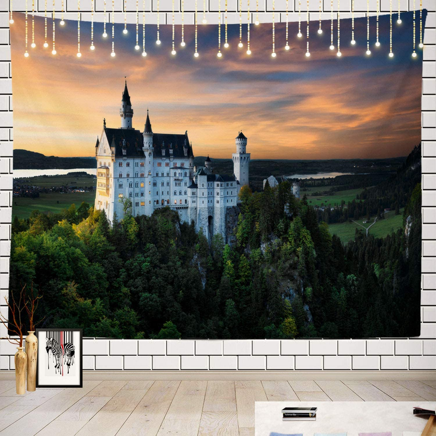 Batmerry Beautiful Tapestry, Beautiful World Famous Neuschwanstein Castle Colorful Picnic Mat Hippie Trippy Tapestry Wall Art Meditation Decor for Bedroom Living Room Dorm, 51.2 x 59.1 Inches, Dusk