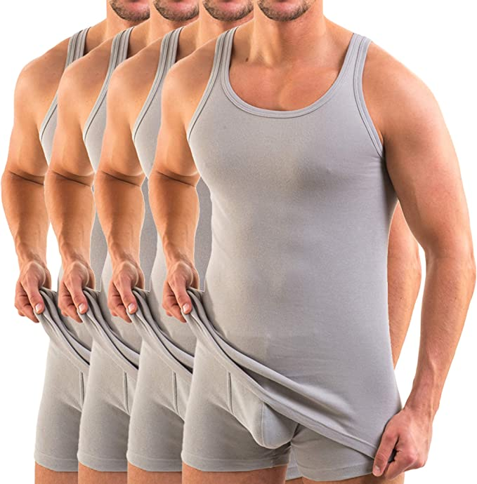 HERMKO 3000 Kit de Cuatro Tank Tops para Hombre, Hechos de algodón orgánico 100%, Camiseta Interior, Camiseta de Hombros para Chaqueta Deportiva: Amazon.es: Ropa y accesorios