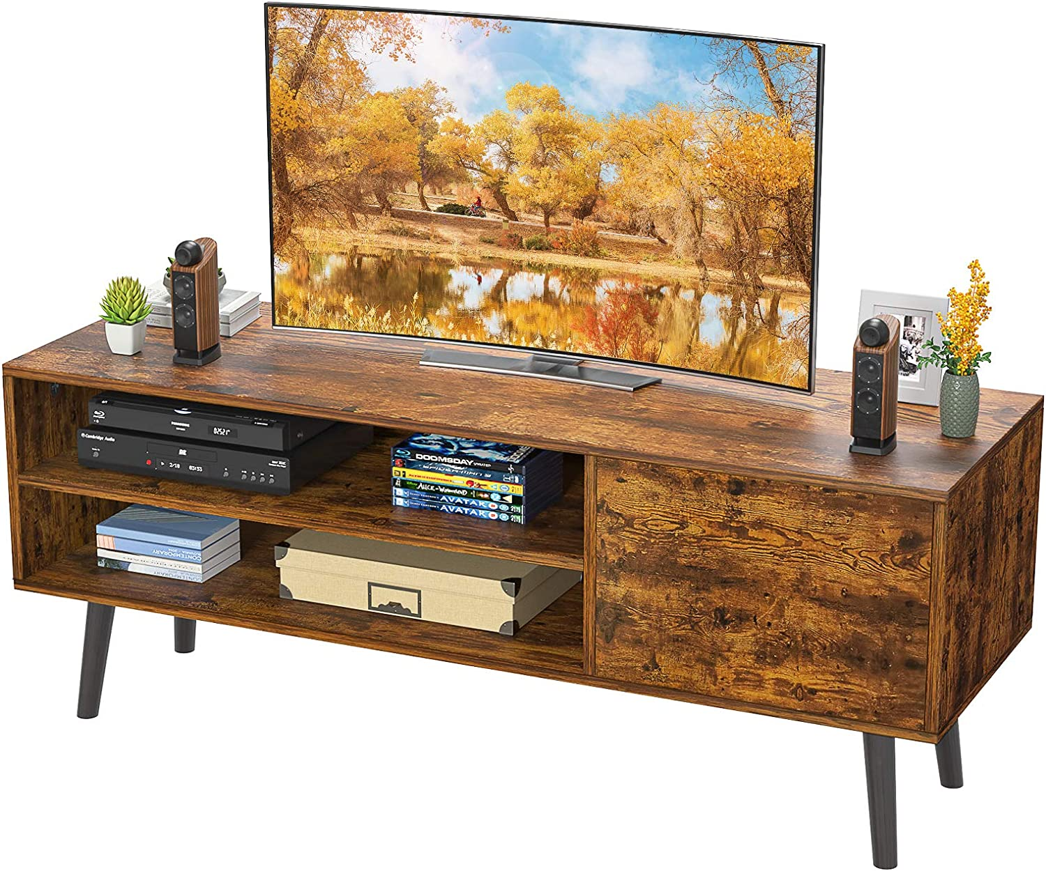 "Homfio TV Stand for up to 55"" TV, 2-Tier TV Console Stand Storage Entertainment Center and Cabinet Industrial Style TV Console Gaming Consoles Mid Century Wood TV Stand for Living Room Bedroom"