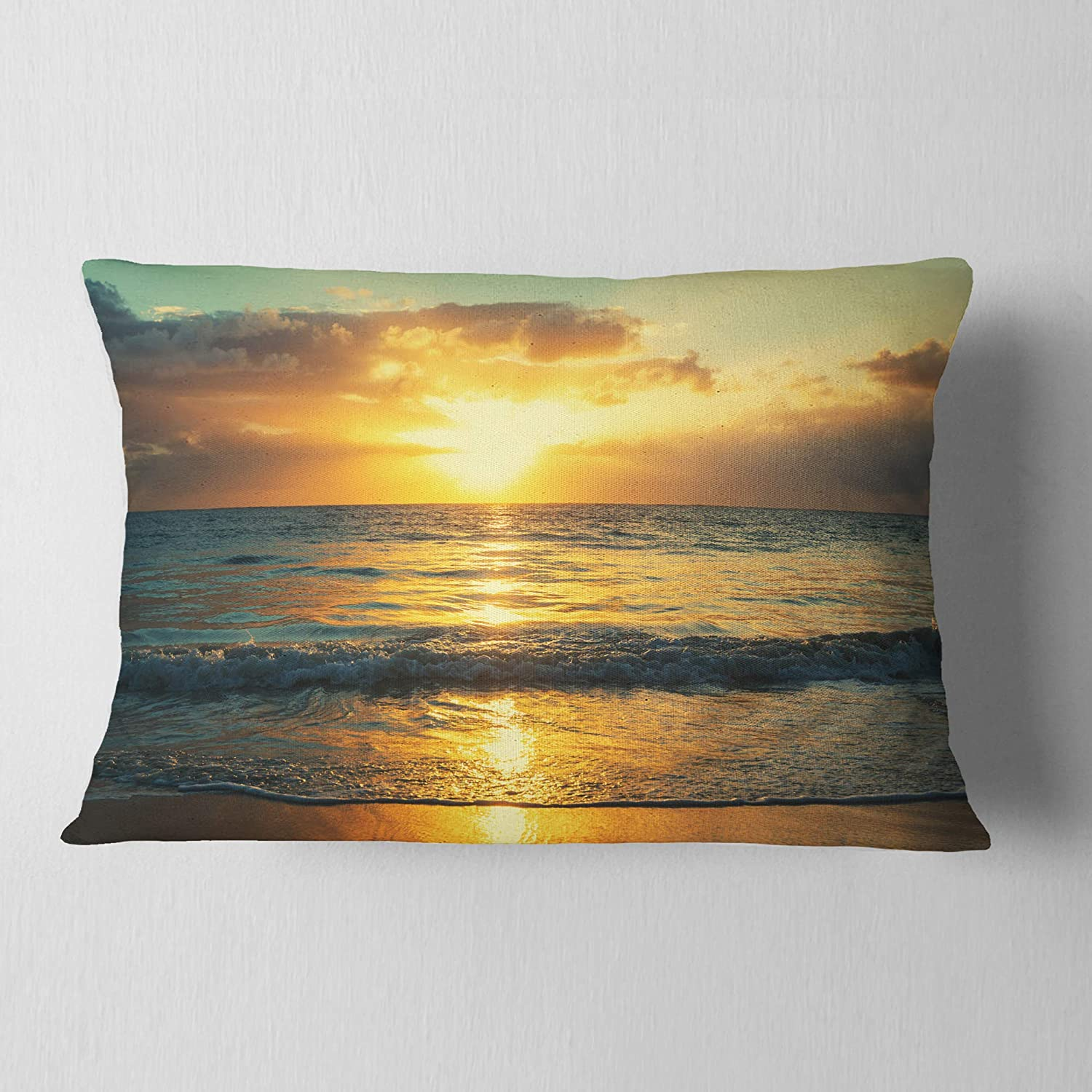 Sofa Throw Pillow 12 In Insert Printed On Both Side X 20 In In Designart Cu10867 12 20 Exotic Water And Sky Sunset Panorama Modern Seashore Lumbar Cushion Cover For Living Room Throw Pillow