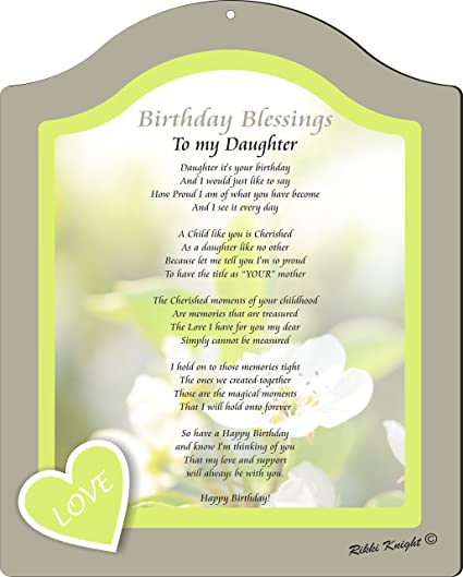 rikki knight birthday blessings to my daughter from mom love soft design poem plaque